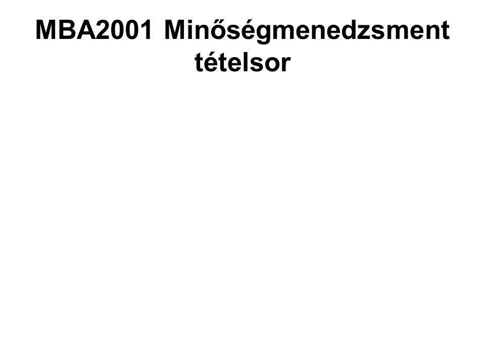 MBA2001 Minőségmenedzsment tételsor