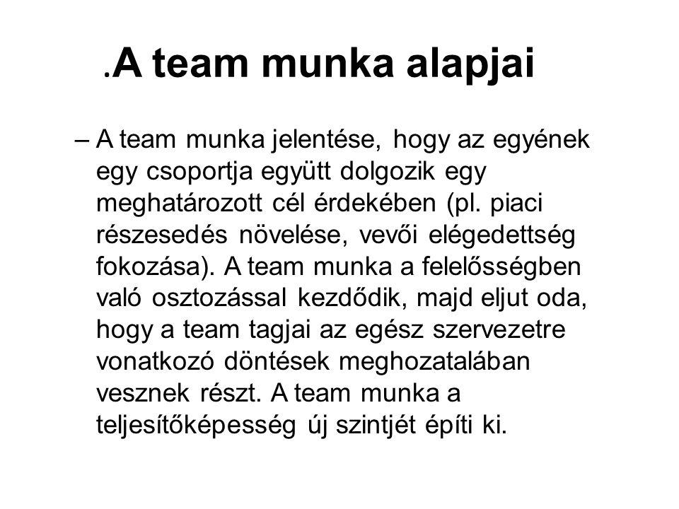 A team munka alapjai –A team munka jelentése, hogy az egyének egy csoportja együtt dolgozik egy meghatározott cél érdekében (pl.