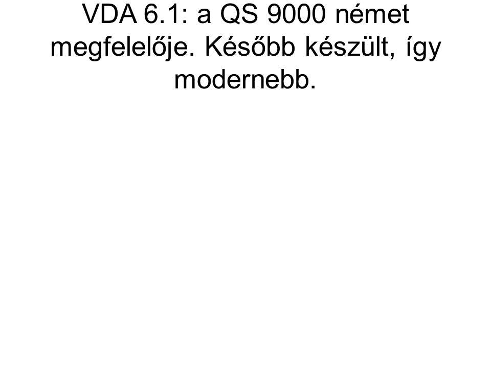 VDA 6.1: a QS 9000 német megfelelője. Később készült, így modernebb.