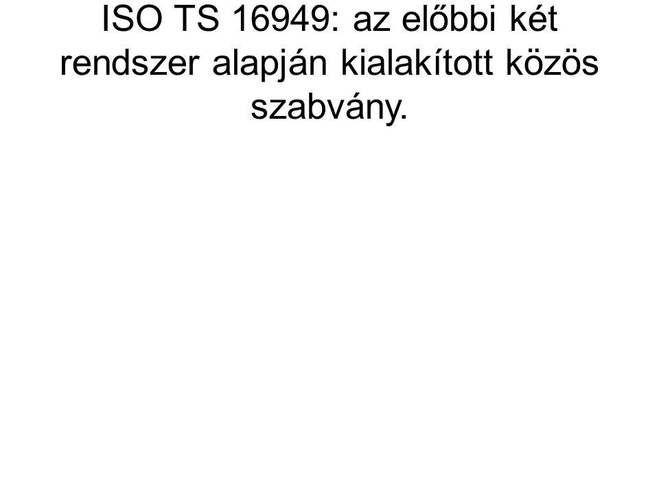 ISO TS 16949: az előbbi két rendszer alapján kialakított közös szabvány.