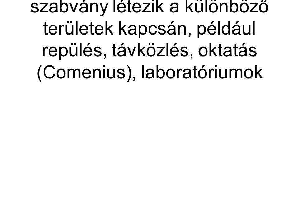 A fentieken kívül is számos szabvány létezik a különböző területek kapcsán, például repülés, távközlés, oktatás (Comenius), laboratóriumok