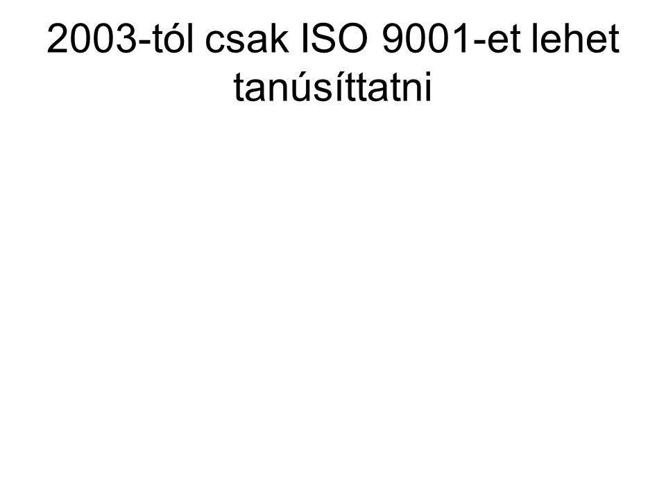 2003-tól csak ISO 9001-et lehet tanúsíttatni