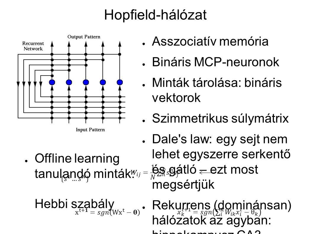 A HN dinamikája ● Nemlineáris rendszerek stabilitás-analízise: Lyapunov-függvény segítségével definiáljuk az állapotokhoz rendelhető energiát.