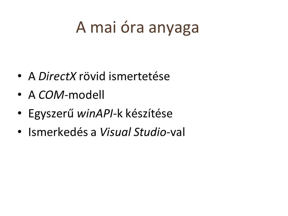 A mai óra anyaga A DirectX rövid ismertetése A COM-modell Egyszerű winAPI-k készítése Ismerkedés a Visual Studio-val