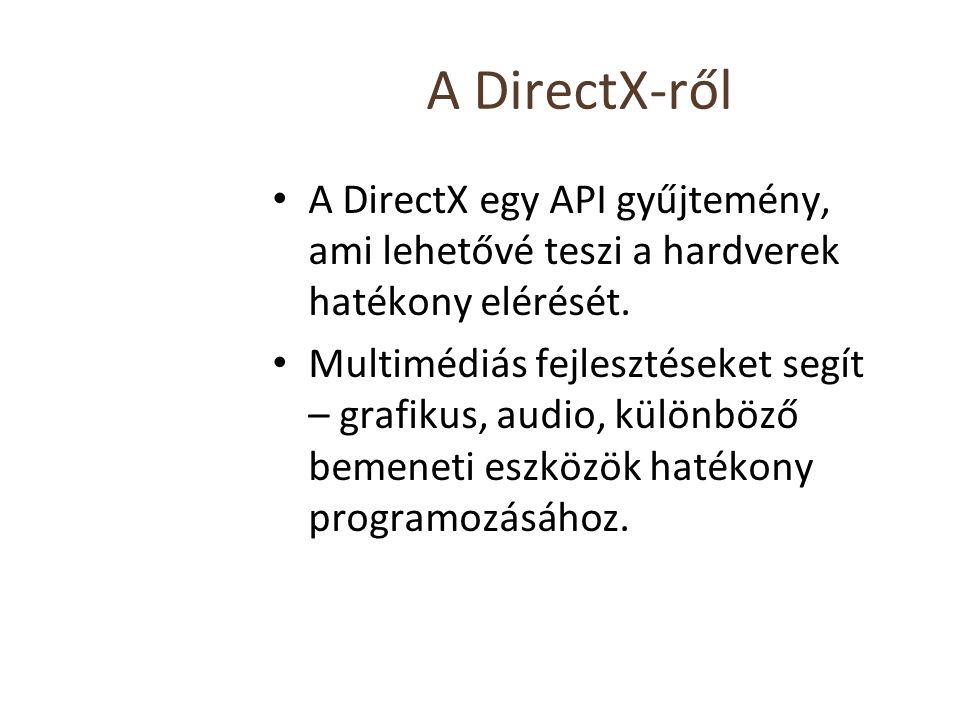 A DirectX-ről A DirectX egy API gyűjtemény, ami lehetővé teszi a hardverek hatékony elérését. Multimédiás fejlesztéseket segít – grafikus, audio, külö