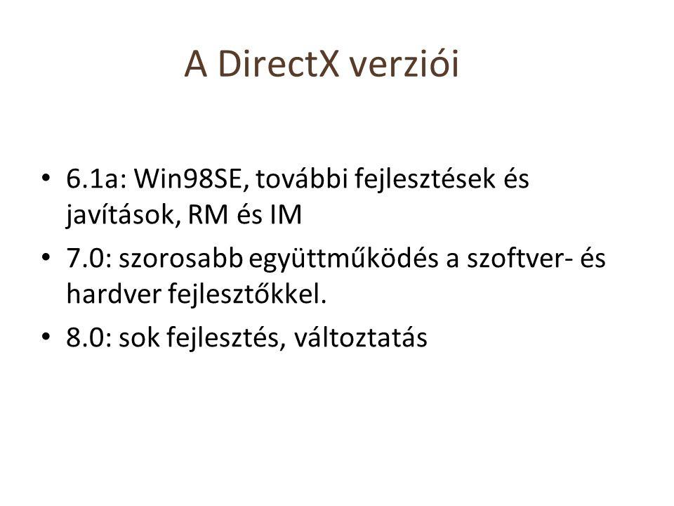 A DirectX verziói 6.1a: Win98SE, további fejlesztések és javítások, RM és IM 7.0: szorosabb együttműködés a szoftver- és hardver fejlesztőkkel. 8.0: s