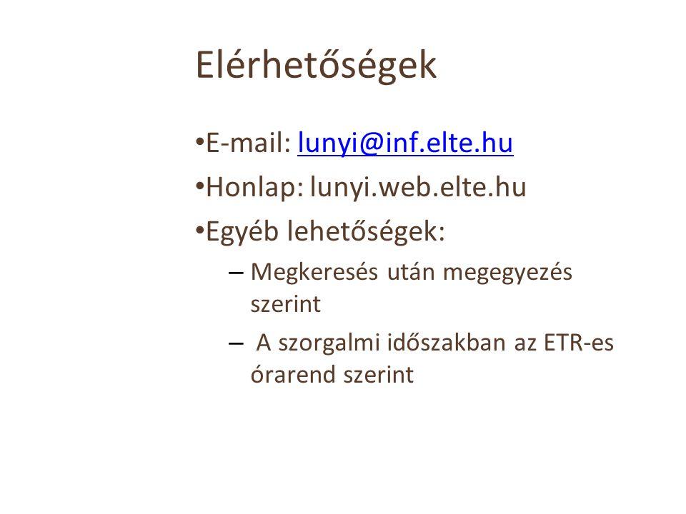 Elérhetőségek E-mail: lunyi@inf.elte.hulunyi@inf.elte.hu Honlap: lunyi.web.elte.hu Egyéb lehetőségek: – Megkeresés után megegyezés szerint – A szorgalmi időszakban az ETR-es órarend szerint