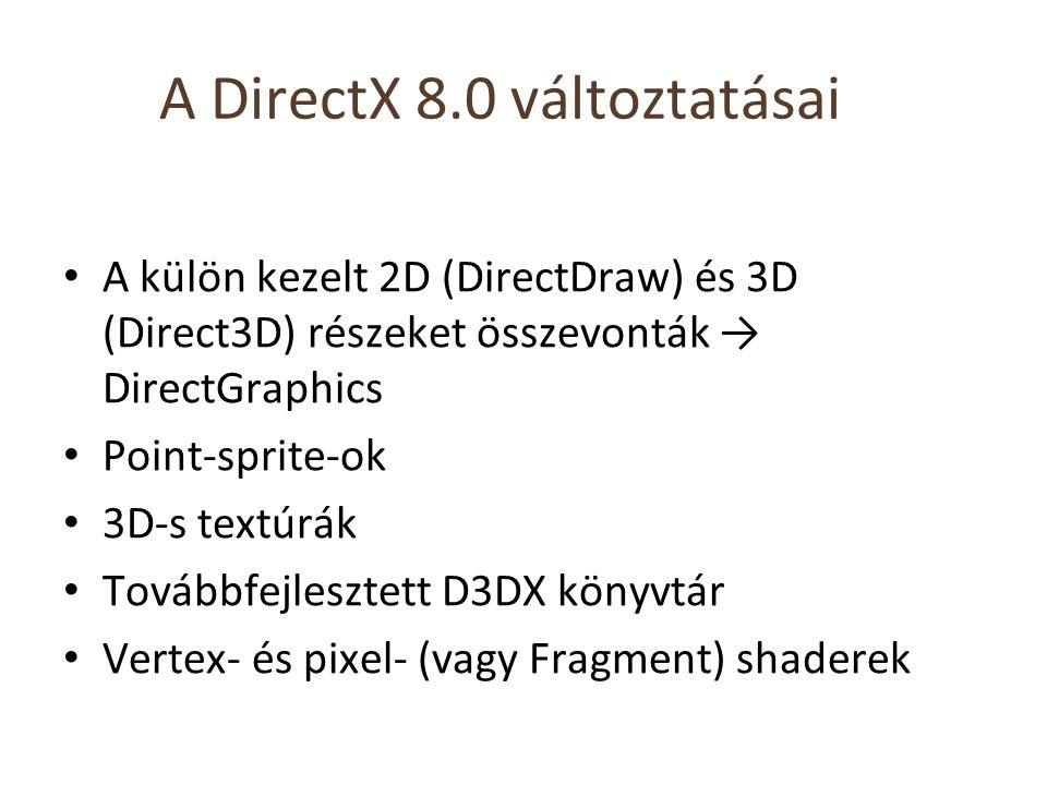 A DirectX 8.0 változtatásai A külön kezelt 2D (DirectDraw) és 3D (Direct3D) részeket összevonták → DirectGraphics Point-sprite-ok 3D-s textúrák Továbbfejlesztett D3DX könyvtár Vertex- és pixel- (vagy Fragment) shaderek
