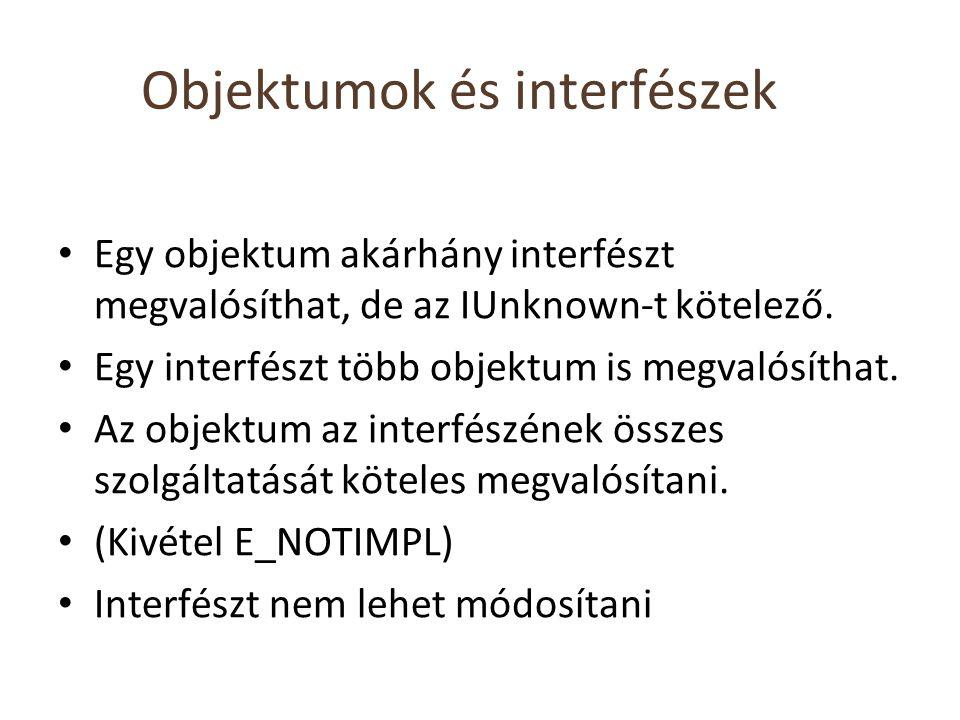 Objektumok és interfészek Egy objektum akárhány interfészt megvalósíthat, de az IUnknown-t kötelező. Egy interfészt több objektum is megvalósíthat. Az