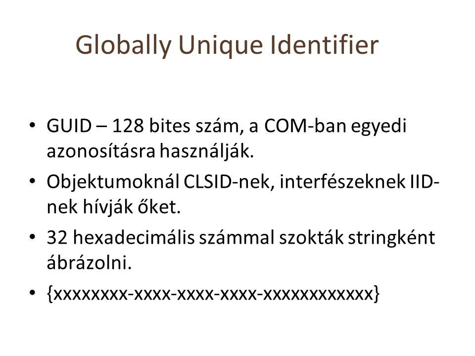 Globally Unique Identifier GUID – 128 bites szám, a COM-ban egyedi azonosításra használják. Objektumoknál CLSID-nek, interfészeknek IID- nek hívják ők