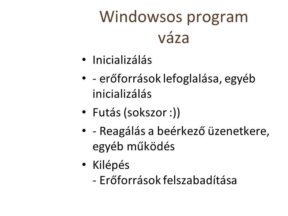 Windowsos program váza Inicializálás - erőforrások lefoglalása, egyéb inicializálás Futás (sokszor :)) - Reagálás a beérkező üzenetkere, egyéb működés Kilépés - Erőforrások felszabadítása