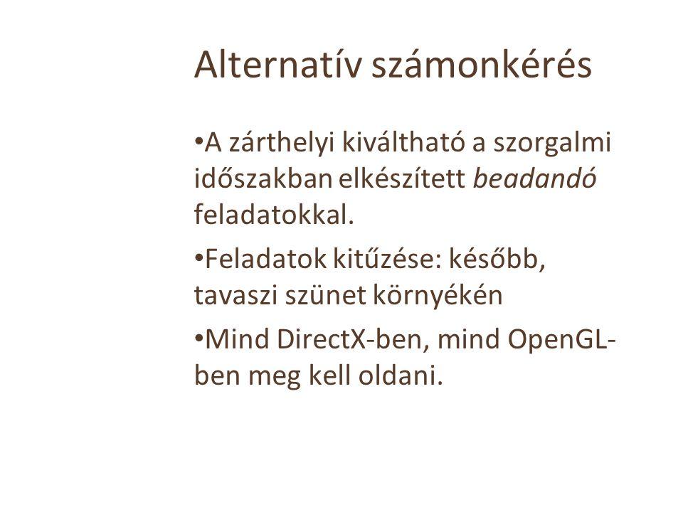 Alternatív számonkérés A zárthelyi kiváltható a szorgalmi időszakban elkészített beadandó feladatokkal.
