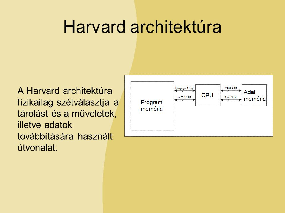 Harvard architektúra A Harvard architektúra fizikailag szétválasztja a tárolást és a műveletek, illetve adatok továbbítására használt útvonalat.