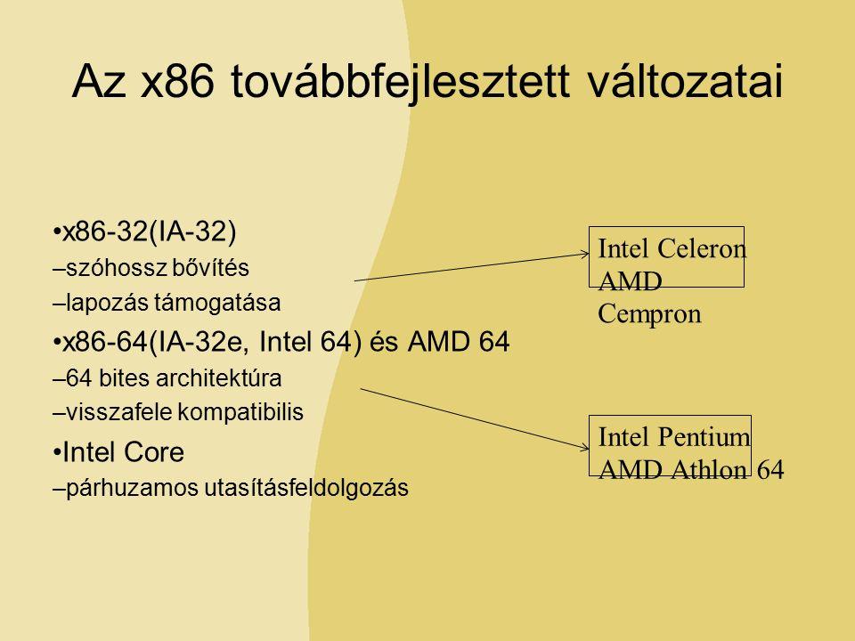 Az x86 továbbfejlesztett változatai x86-32(IA-32) –szóhossz bővítés –lapozás támogatása x86-64(IA-32e, Intel 64) és AMD 64 –64 bites architektúra –visszafele kompatibilis Intel Core –párhuzamos utasításfeldolgozás Intel Celeron AMD Cempron Intel Pentium AMD Athlon 64