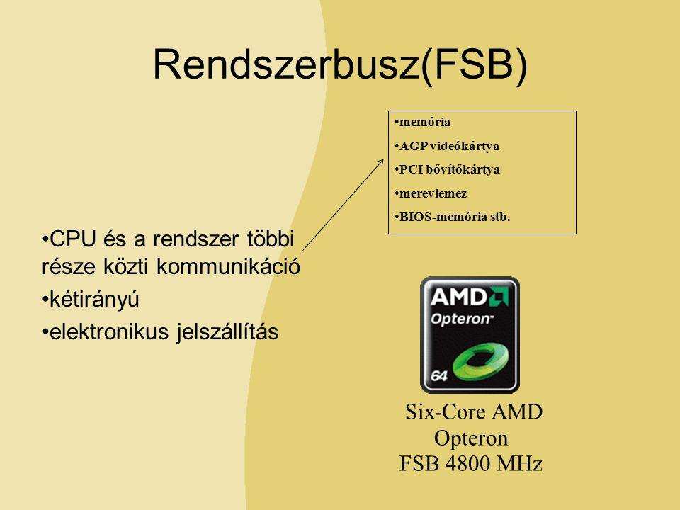 Rendszerbusz(FSB) CPU és a rendszer többi része közti kommunikáció kétirányú elektronikus jelszállítás memória AGP videókártya PCI bővítőkártya merevlemez BIOS-memória stb.