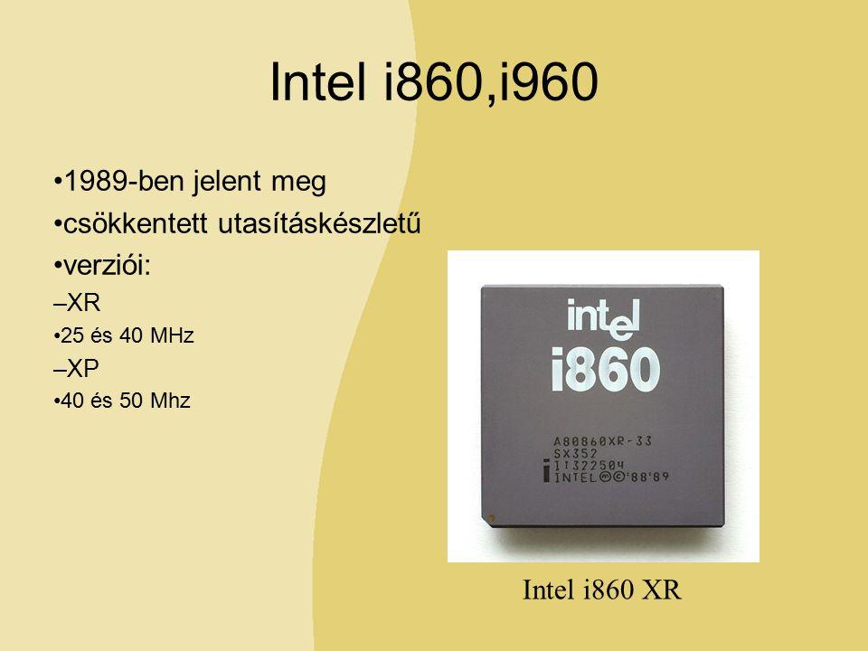 Intel i860,i960 1989-ben jelent meg csökkentett utasításkészletű verziói: –XR 25 és 40 MHz –XP 40 és 50 Mhz Intel i860 XR