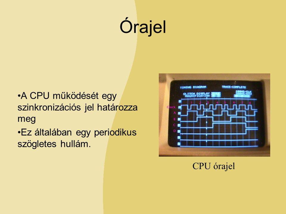Órajel A CPU működését egy szinkronizációs jel határozza meg Ez általában egy periodikus szögletes hullám.