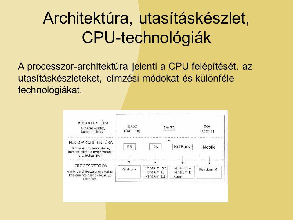 Architektúra, utasításkészlet, CPU-technológiák A processzor-architektúra jelenti a CPU felépítését, az utasításkészleteket, címzési módokat és különféle technológiákat.