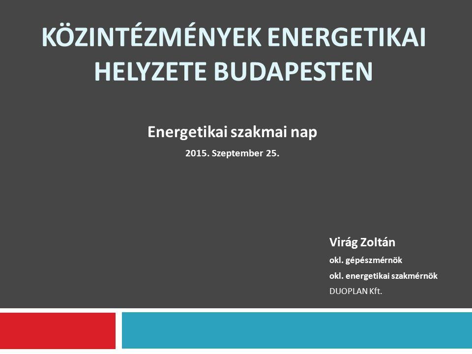 KÖZINTÉZMÉNYEK ENERGETIKAI HELYZETE BUDAPESTEN Virág Zoltán okl.