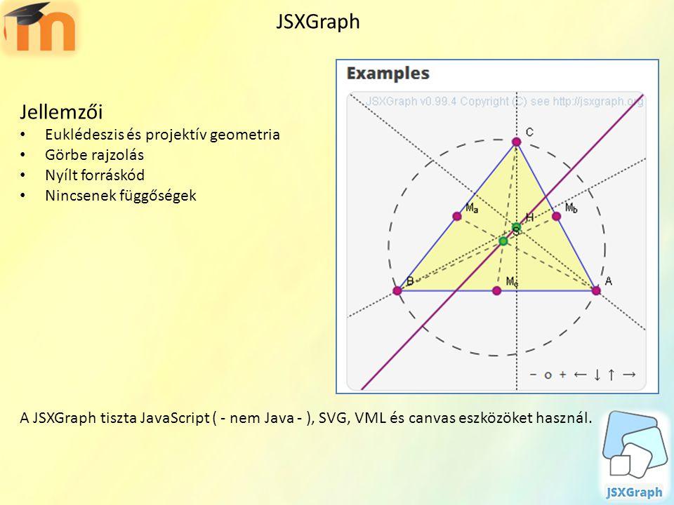 JSXGraph Jellemzői Euklédeszis és projektív geometria Görbe rajzolás Nyílt forráskód Nincsenek függőségek A JSXGraph tiszta JavaScript ( - nem Java -