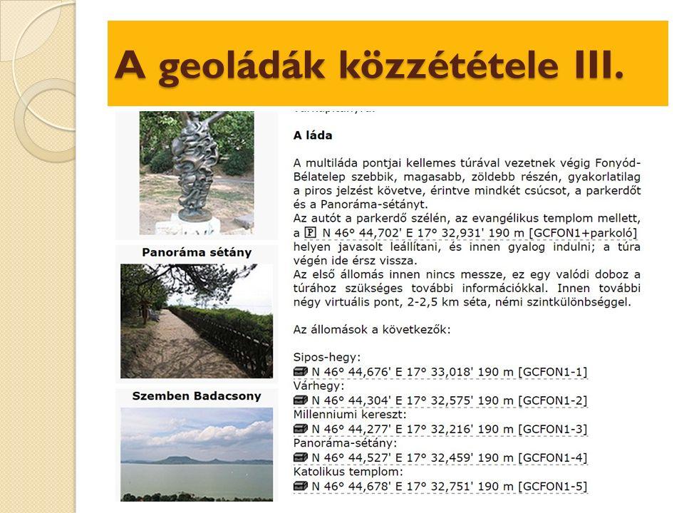 A geoládák közzététele III.
