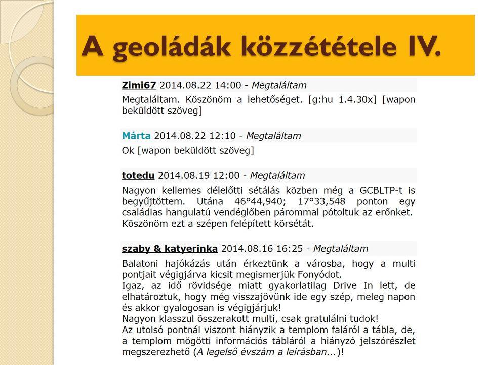 A geoládák közzététele IV.
