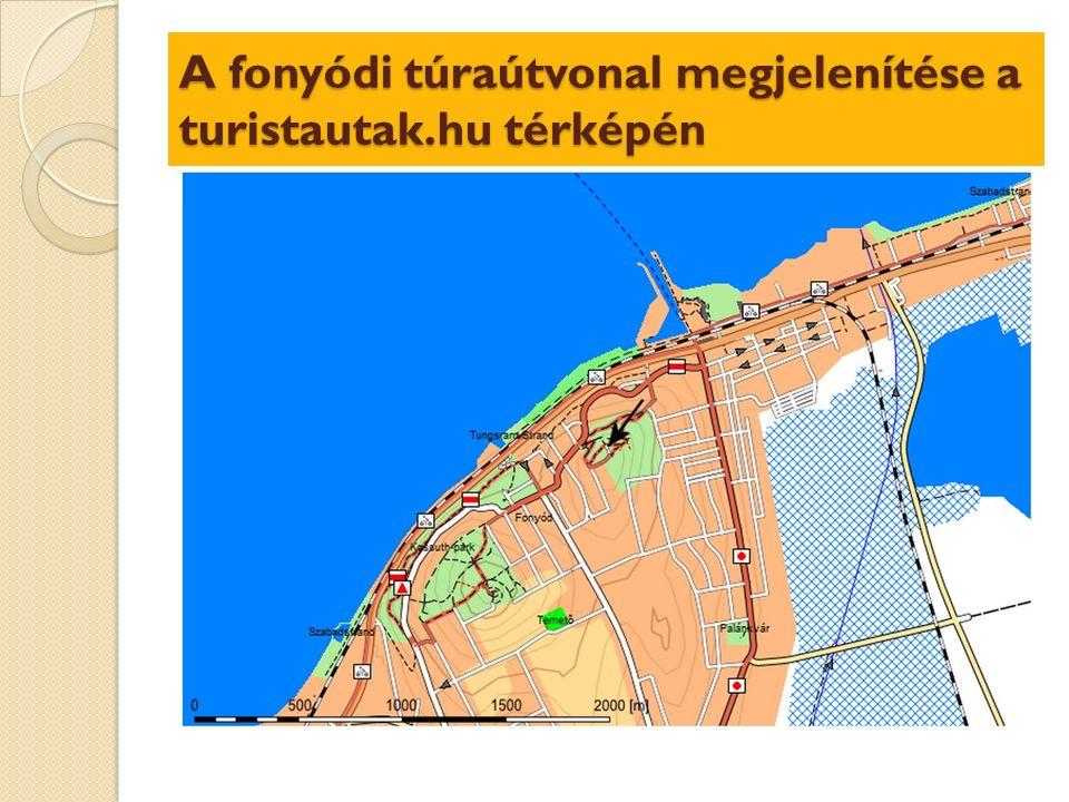 A fonyódi túraútvonal megjelenítése a turistautak.hu térképén