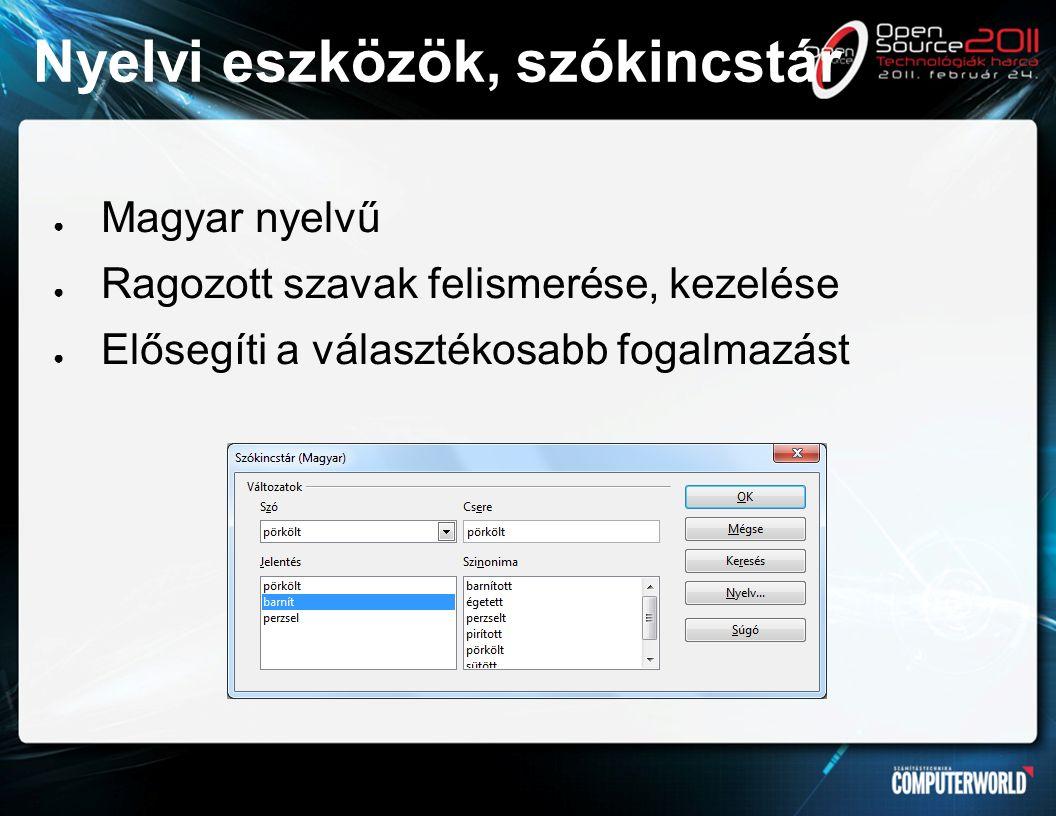 Nyelvi eszközök, szókincstár ● Magyar nyelvű ● Ragozott szavak felismerése, kezelése ● Elősegíti a választékosabb fogalmazást