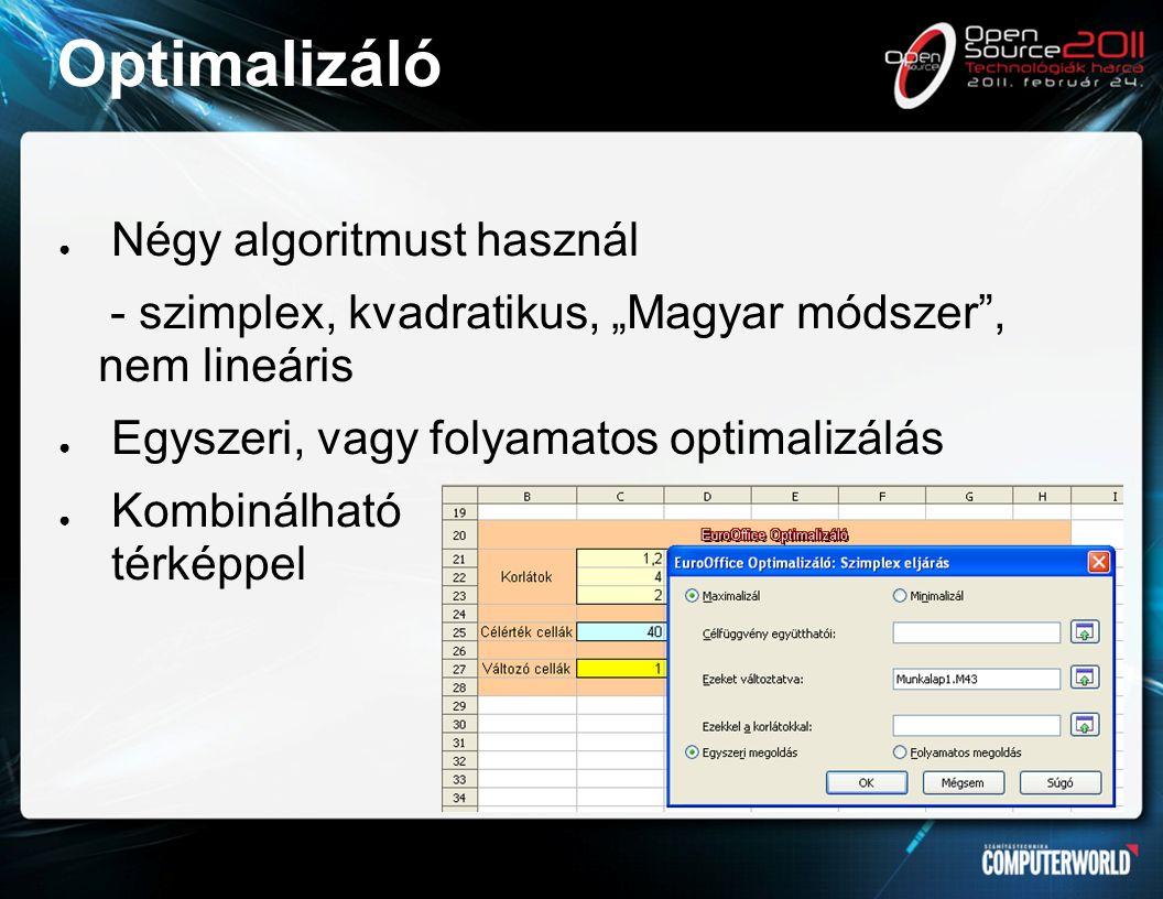 """Optimalizáló ● Négy algoritmust használ - szimplex, kvadratikus, """"Magyar módszer , nem lineáris ● Egyszeri, vagy folyamatos optimalizálás ● Kombinálható térképpel"""