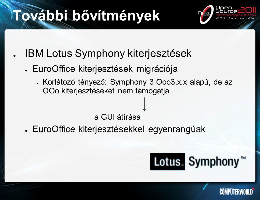 További bővítmények ● IBM Lotus Symphony kiterjesztések ● EuroOffice kiterjesztések migrációja ● Korlátozó tényező: Symphony 3 Ooo3.x.x alapú, de az OOo kiterjesztéseket nem támogatja a GUI átírása ● EuroOffice kiterjesztésekkel egyenrangúak