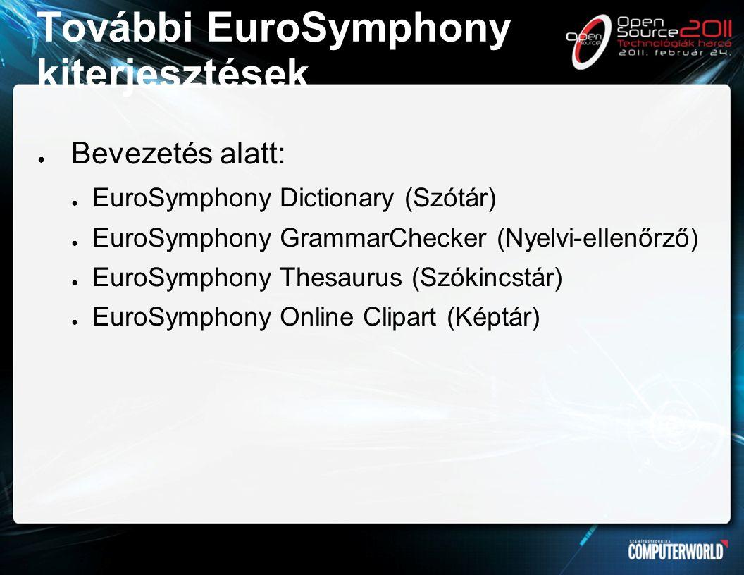 További EuroSymphony kiterjesztések ● Bevezetés alatt: ● EuroSymphony Dictionary (Szótár) ● EuroSymphony GrammarChecker (Nyelvi-ellenőrző) ● EuroSymphony Thesaurus (Szókincstár) ● EuroSymphony Online Clipart (Képtár)