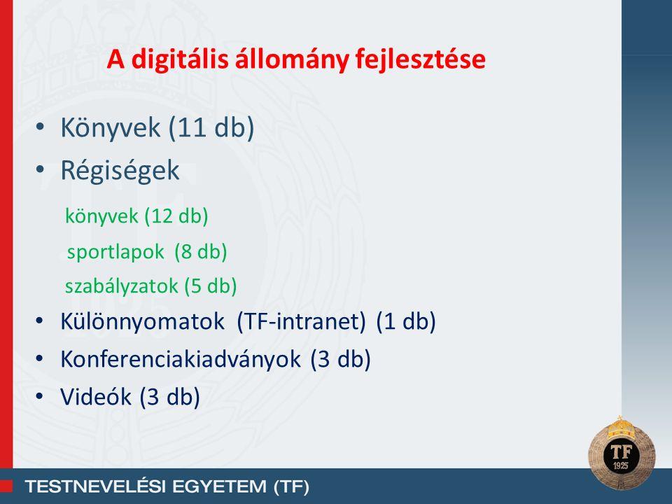 Könyvek (11 db) Régiségek könyvek (12 db) sportlapok (8 db) szabályzatok (5 db) Különnyomatok (TF-intranet) (1 db) Konferenciakiadványok (3 db) Videók (3 db) A digitális állomány fejlesztése