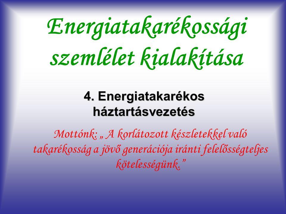 """Energiatakarékossági szemlélet kialakítása 4. Energiatakarékos háztartásvezetés Mottónk: """" A korlátozott készletekkel való takarékosság a jövő generác"""