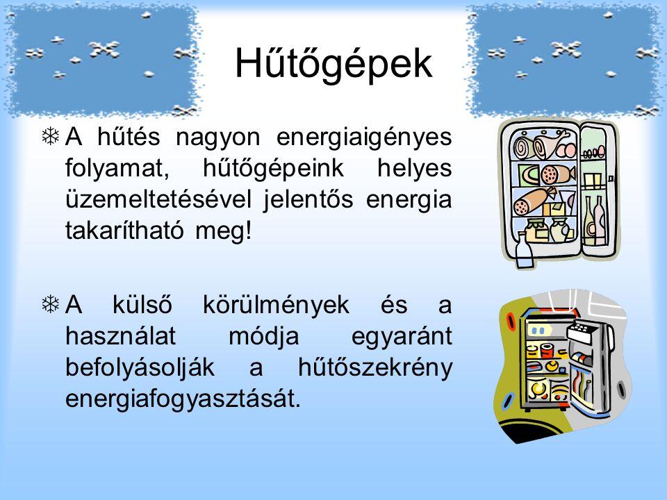 Hűtőgépek  A hűtés nagyon energiaigényes folyamat, hűtőgépeink helyes üzemeltetésével jelentős energia takarítható meg.