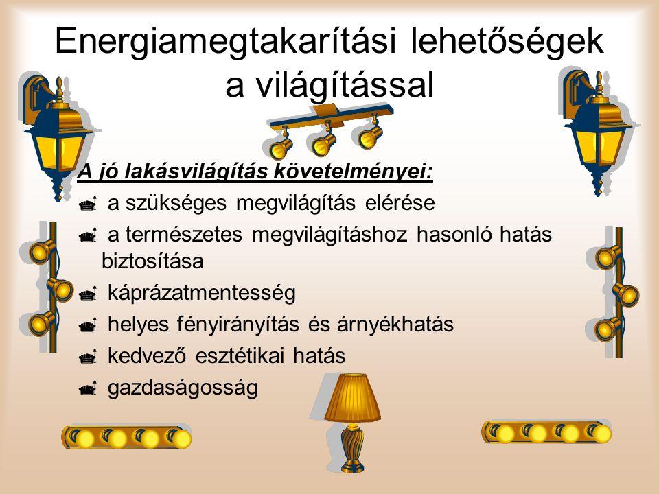 Energiamegtakarítási lehetőségek a világítással A jó lakásvilágítás követelményei:  a szükséges megvilágítás elérése  a természetes megvilágításhoz
