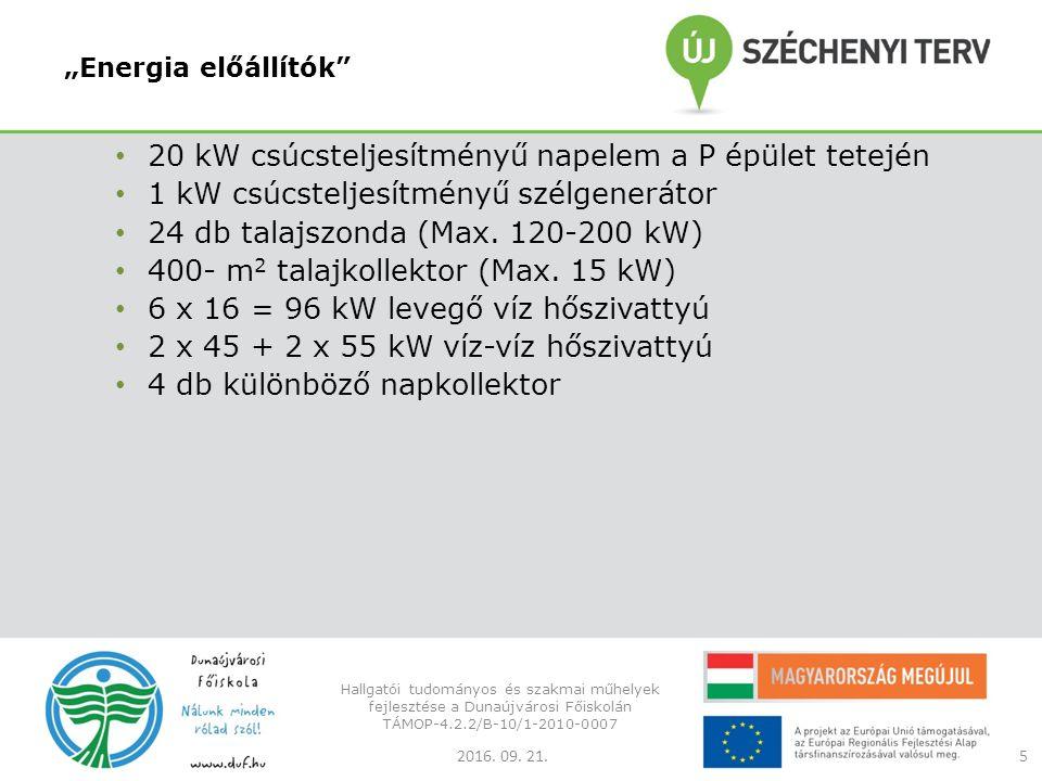 """""""Energia előállítók 20 kW csúcsteljesítményű napelem a P épület tetején 1 kW csúcsteljesítményű szélgenerátor 24 db talajszonda (Max."""