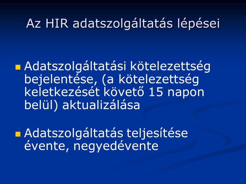 Az HIR adatszolgáltatás lépései Adatszolgáltatási kötelezettség bejelentése, (a kötelezettség keletkezését követő 15 napon belül) aktualizálása Adatszolgáltatás teljesítése évente, negyedévente