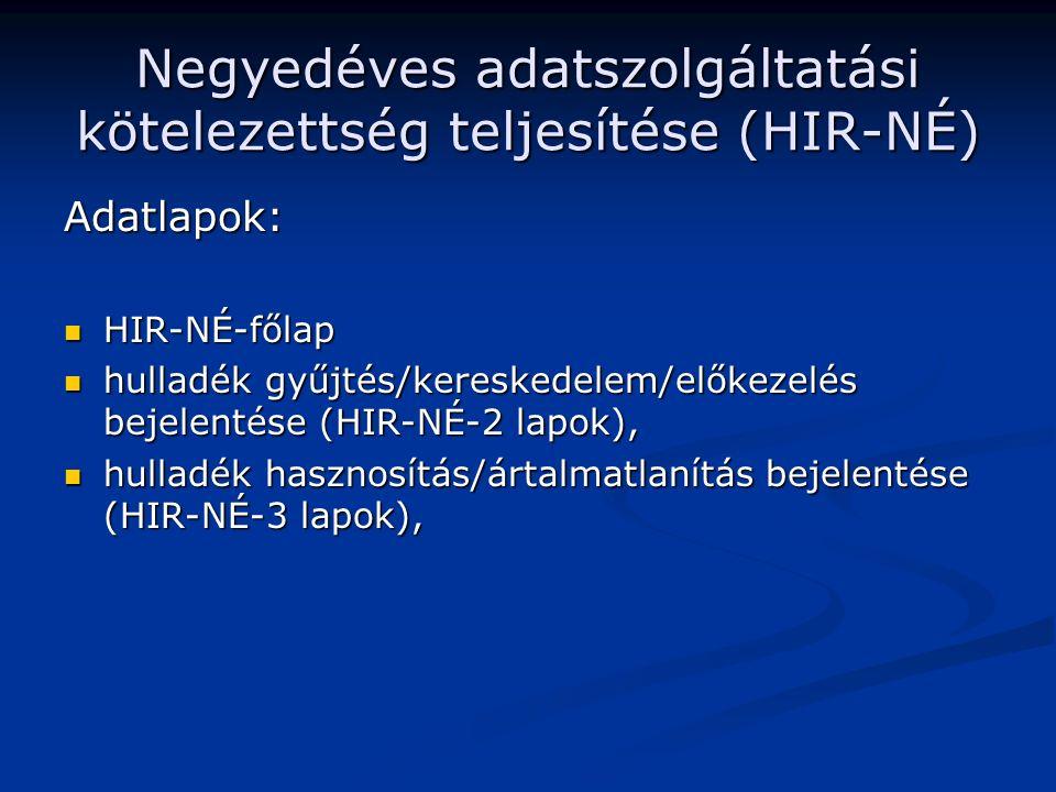 Negyedéves adatszolgáltatási kötelezettség teljesítése (HIR-NÉ) Adatlapok: HIR-NÉ-főlap HIR-NÉ-főlap hulladék gyűjtés/kereskedelem/előkezelés bejelentése (HIR-NÉ-2 lapok), hulladék gyűjtés/kereskedelem/előkezelés bejelentése (HIR-NÉ-2 lapok), hulladék hasznosítás/ártalmatlanítás bejelentése (HIR-NÉ-3 lapok), hulladék hasznosítás/ártalmatlanítás bejelentése (HIR-NÉ-3 lapok),