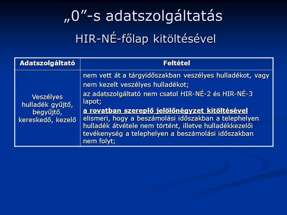 """""""0 -s adatszolgáltatás HIR-NÉ-főlap kitöltésével AdatszolgáltatóFeltétel Veszélyes hulladék gyűjtő, begyűjtő, kereskedő, kezelő nem vett át a tárgyidőszakban veszélyes hulladékot, vagy nem kezelt veszélyes hulladékot; az adatszolgáltató nem csatol HIR-NÉ-2 és HIR-NÉ-3 lapot; a rovatban szereplő jelölőnégyzet kitöltésével elismeri, hogy a beszámolási időszakban a telephelyen hulladék átvétele nem történt, illetve hulladékkezelői tevékenység a telephelyen a beszámolási időszakban nem folyt;"""