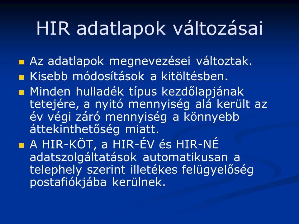 HIR adatlapok változásai Az adatlapok megnevezései változtak.