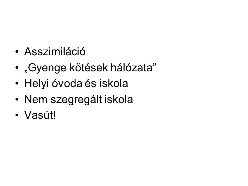 """Asszimiláció """"Gyenge kötések hálózata Helyi óvoda és iskola Nem szegregált iskola Vasút!"""