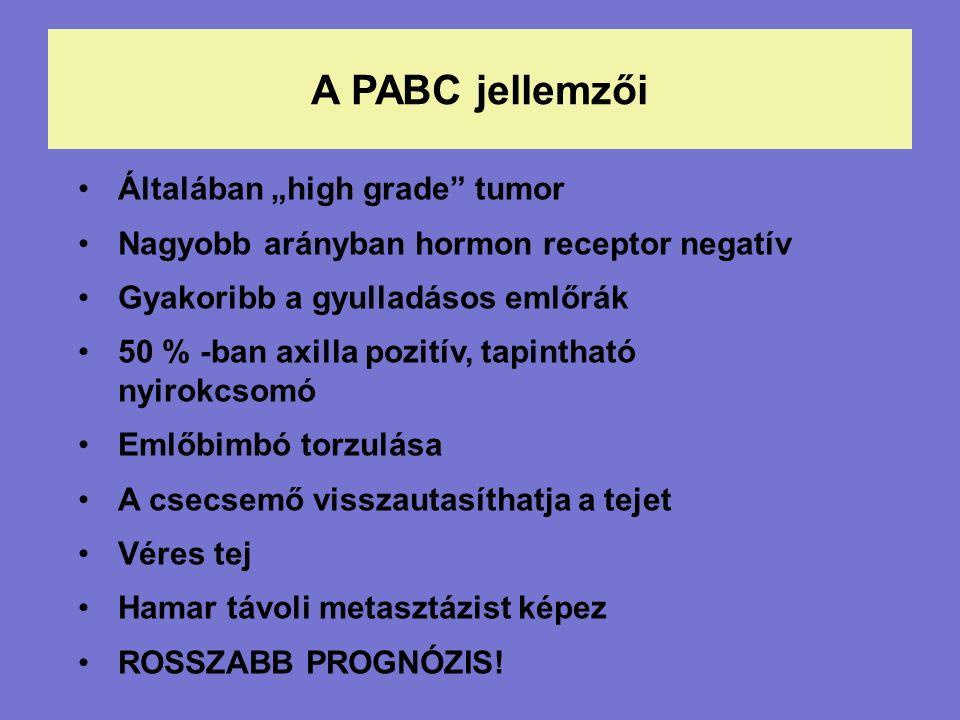 """A PABC jellemzői Általában """"high grade tumor Nagyobb arányban hormon receptor negatív Gyakoribb a gyulladásos emlőrák 50 % -ban axilla pozitív, tapintható nyirokcsomó Emlőbimbó torzulása A csecsemő visszautasíthatja a tejet Véres tej Hamar távoli metasztázist képez ROSSZABB PROGNÓZIS!"""