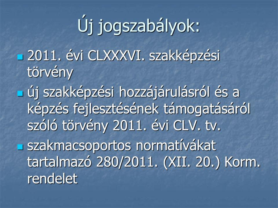 Új jogszabályok: 2011. évi CLXXXVI. szakképzési törvény 2011. évi CLXXXVI. szakképzési törvény új szakképzési hozzájárulásról és a képzés fejlesztésén