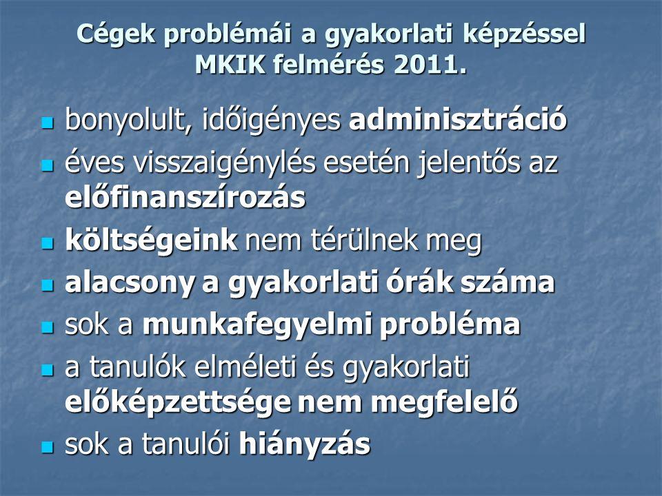 Cégek problémái a gyakorlati képzéssel MKIK felmérés 2011. bonyolult, időigényes adminisztráció bonyolult, időigényes adminisztráció éves visszaigényl