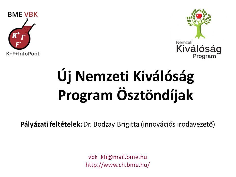 Új Nemzeti Kiválóság Program Ösztöndíjak Pályázati feltételek: Dr. Bodzay Brigitta (innovációs irodavezető) vbk_kfi@mail.bme.hu http://www.ch.bme.hu/