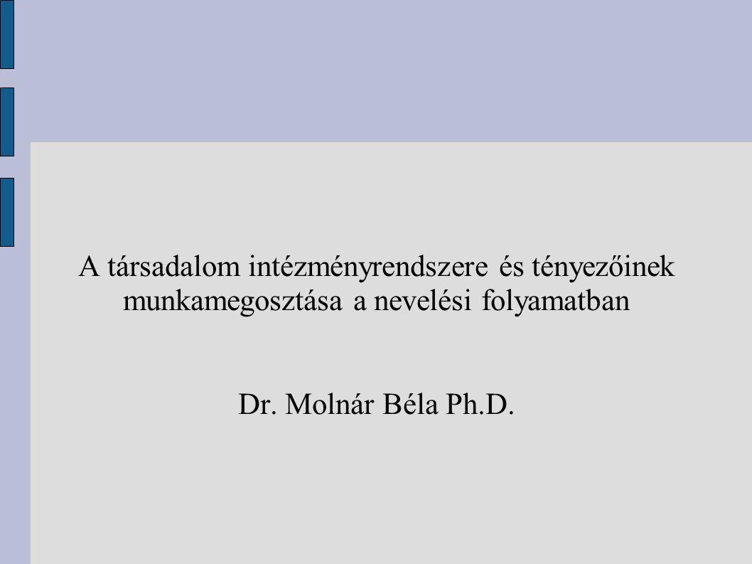 A társadalom intézményrendszere és tényezőinek munkamegosztása a nevelési folyamatban Dr. Molnár Béla Ph.D.