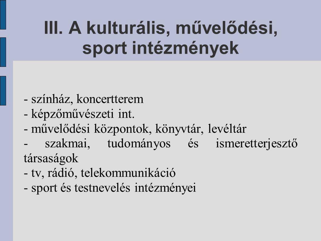 III. A kulturális, művelődési, sport intézmények - színház, koncertterem - képzőművészeti int. - művelődési központok, könyvtár, levéltár - szakmai, t