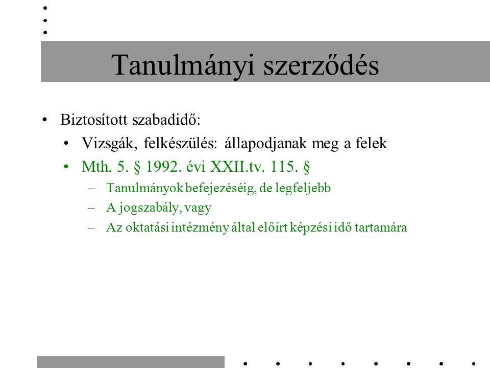 Tanulmányi szerződés Biztosított szabadidő: Vizsgák, felkészülés: állapodjanak meg a felek Mth. 5. § 1992. évi XXII.tv. 115. § –Tanulmányok befejezésé