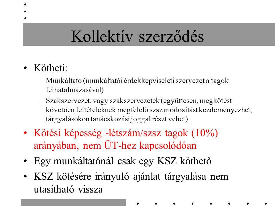 Kollektív szerződés Kötheti: –Munkáltató (munkáltatói érdekképviseleti szervezet a tagok felhatalmazásával) –Szakszervezet, vagy szakszervezetek (együ