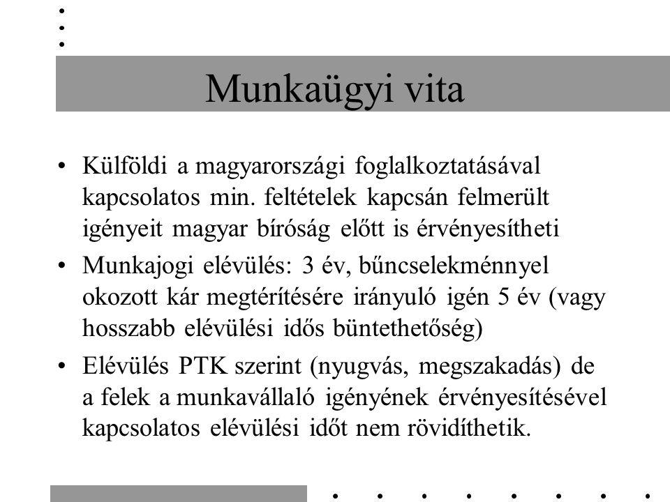 Munkaügyi vita Külföldi a magyarországi foglalkoztatásával kapcsolatos min. feltételek kapcsán felmerült igényeit magyar bíróság előtt is érvényesíthe